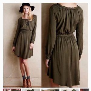 Holding horses olive green dress